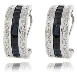 Dolce Giavonna Sterling Silver Sapphire and Diamond Accent Half Hoop Earrings