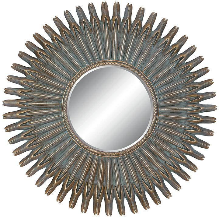 Round Framed Antique Gold Mirror