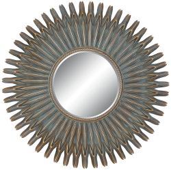 Round Framed Antique Gold Mirror