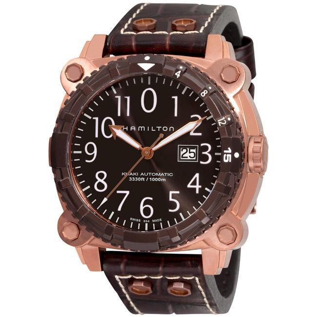 Hamilton Men's 'Khaki Navy BelowZero' Brown Strap Diver's Watch