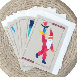 Set of 6 Corn Husk and Recycled Paper Santa Greeting Cards (Nicaragua)