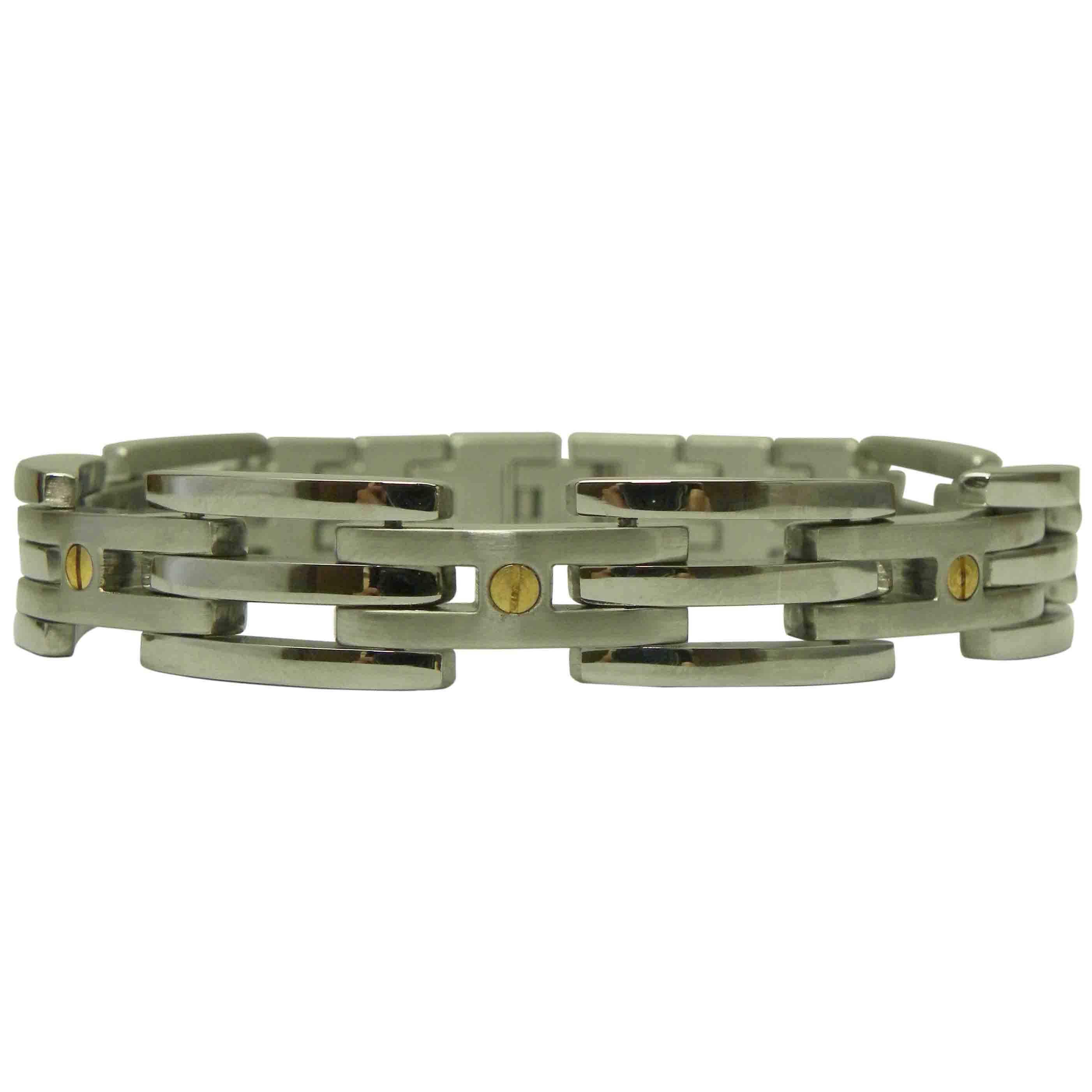 Men's Stainless Steel Magnetic 9-inch Screwhead Bracelet (3 mm)