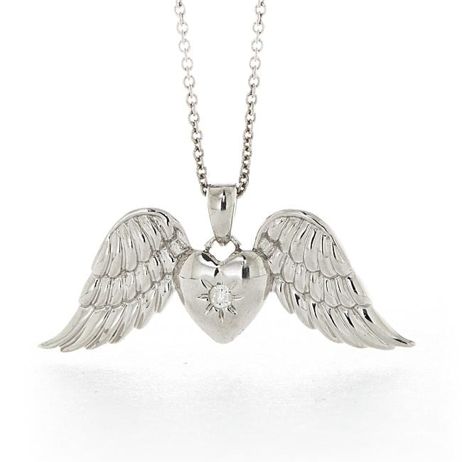 Sterling Silver White Diamond Angel Wings Necklace