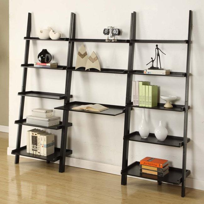 Black 3-piece Leaning Ladder Shelf with Laptop Desk