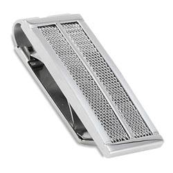 West Coast Jewelry Stainless Steel Mesh Cable Inlay Money Clip