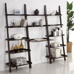 Cappuccino 3-piece Leaning Ladder Shelf with Laptop Desk