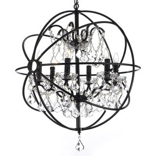 Foucault's Orb Crystal Iron 6 Light Chandelier