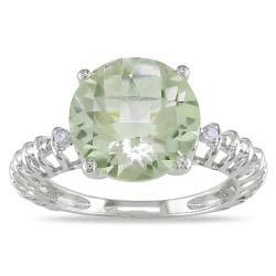 Miadora 10k White Gold Green Amethyst and Diamond Accent Fashion Ring (H-I, I2-I3)