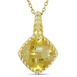 Miadora 10k Yellow Gold Citrine and Diamond Accent Necklace (H-I, I2-I3)
