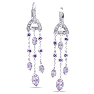 Miadora Sterling Silver Gemstone and Diamond Accent Dangle Earrings (H-I, I3)