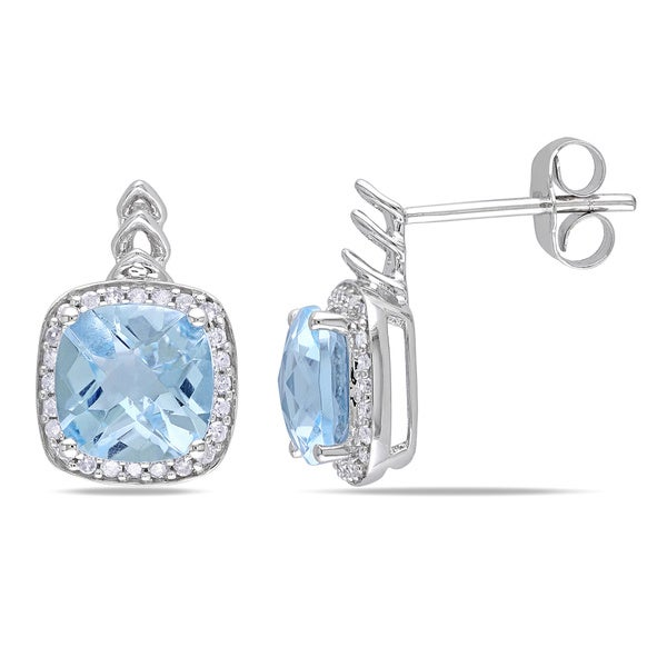 Miadora 10k White Gold Sky Blue Topaz and 1/5ct TDW Diamond Earrings (H-I, I2-I3)