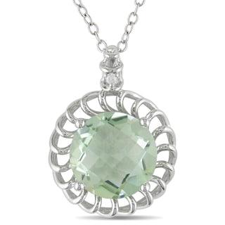 Miadora 10k White Gold Green Amethyst and Diamond Accent Necklace (H-I, I2-I3)