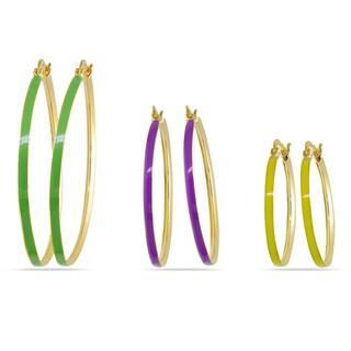 M by Miadora Three-piece Multi-Colored Enamel Hoop Earrings