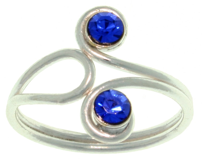 Carolina Glamour Collection Polished Sterling-silver Toe Ring with Blue-swirl Crystal Gemstone