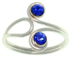 Polished Sterling-silver Toe Ring with Blue-swirl Crystal Gemstone