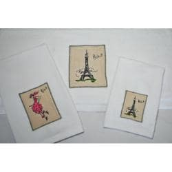 Paris Embroidered Decorative 3-piece Towel Set