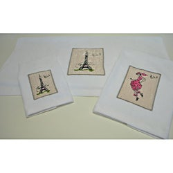 Paris Embroidered 3-piece Decorative Towel Set