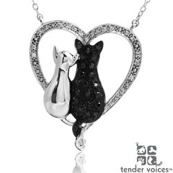 ASPCA Tender Voices Silver 1/3ct TDW Diamond Cat Necklace (I-J, I2-I3)