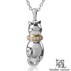 ASPCA Tender Voices Two-tone Silver Diamond Accent Cat Necklace