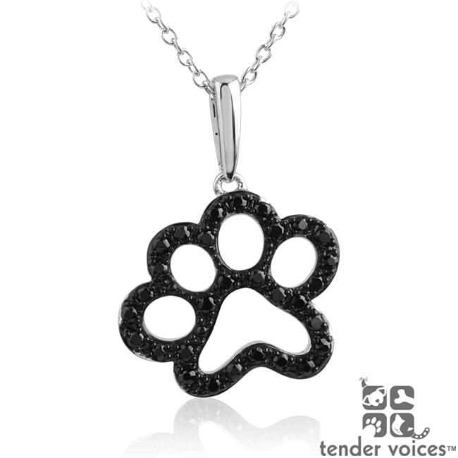 ASPCA Tender Voices Silver 1/3ct TDW Black Diamond Paw Necklace