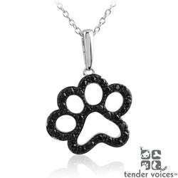 ASPCA Tender Voices Silver 1/3ct TDW Black Diamond Paw Necklace