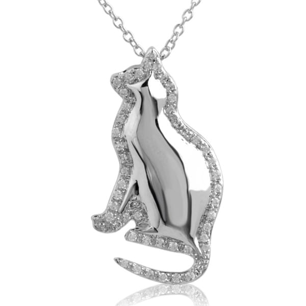 ASPCA Tender Voices Silver 1/4ct TDW Diamond Cat Necklace (I-J, I2-I3)