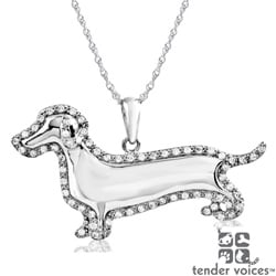 ASPCA Tender Voices Silver 1/4ct TDW Diamond Dachshund Necklace (I-J, I2-I3)