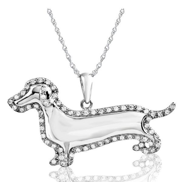 ASPCA Tender Voices Silver 1/4ct TDW Diamond Dachshund Necklace (I-J, I2-I3)