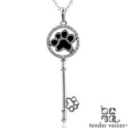 ASPCA Tender Voices Silver 1/10ct TDW Diamond Key Necklace (I-J, I2-I3)