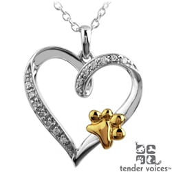 ASPCA Tender Voices Silver Diamond Accent Paw on Heart Necklace