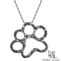 ASPCA Tender Voices Silver 1/10ct TDW Diamond Paw Necklace (I-J, I2-I3)