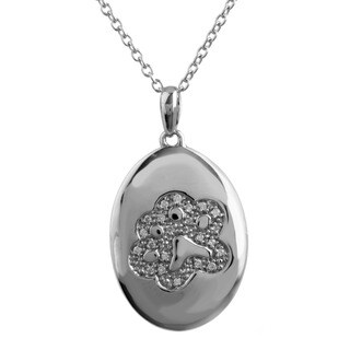 ASPCA Tender Voices Silver 1/10ct TDW Diamond Medallion Necklace (I-J, I2-I3)
