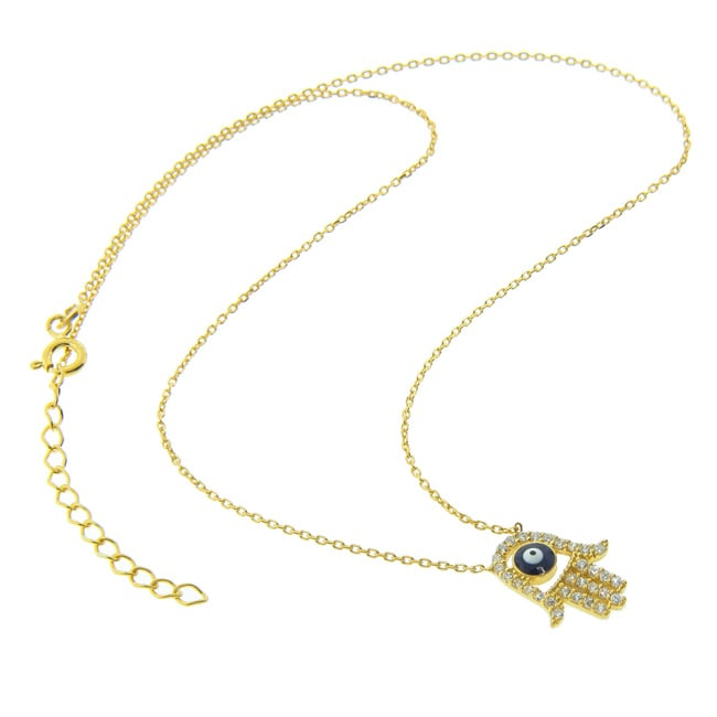 Eternally Haute Gold over Silver CZ Evil Eye Hamsa Necklace