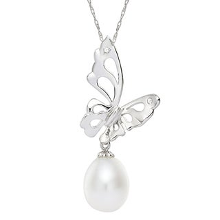 Pearlyta Sterling Silver White Freshwater Pearl Butterfly Charm Necklace (7-8 mm)