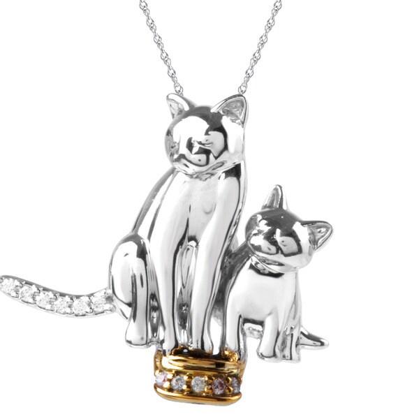 ASPCA Tender Voices Silver Diamond Accent Double Cat Necklace