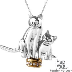 ASPCA Tender Voices Silver Diamond Accent Double Cat Necklace
