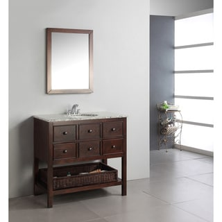 New Haven Walnut Brown 36-inch Bath Vanity with 2 Drawers and Dappled Grey Granite Top