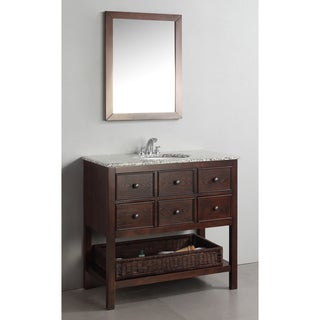 WYNDENHALL New Haven Walnut Brown 36-inch Bath Vanity with 3 Drawers and Dappled Grey Granite Top