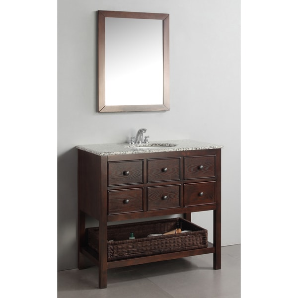 WYNDENHALL New Haven Walnut Brown 3-drawer 36-inch Bath Vanity Set with and Dappled Grey Granite Top