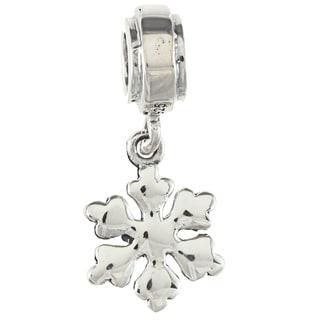 Sterling Silver Dangling Snowflake Charm Bead
