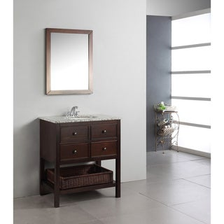 New haven walnut brown 30 inch bath vanity with 2 drawers and dappled grey granite top for Bathroom vanities 30 inch with drawers