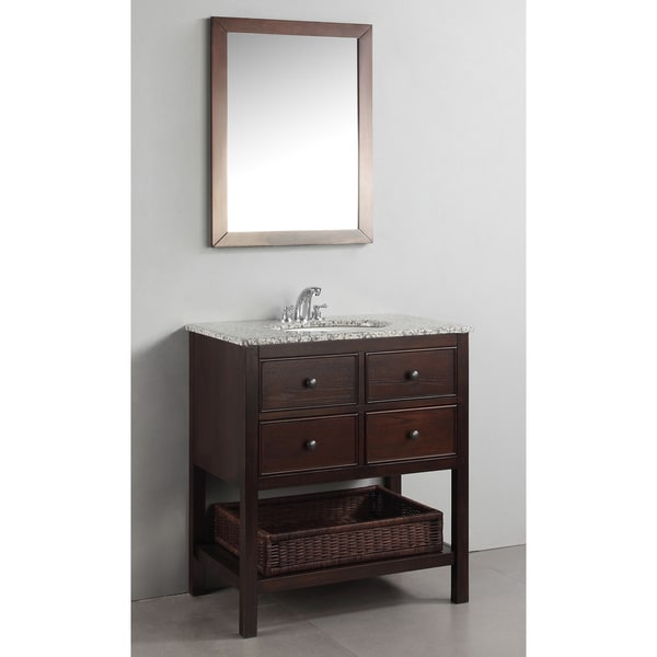 WYNDENHALL New Haven Walnut Brown 30-inch Bath Vanity with 2 Drawers and Dappled Grey Granite Top