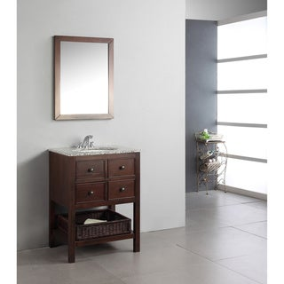 New Haven Walnut Brown 24-inch Bath Vanity with 2 Drawers and Dappled Grey Granite Top