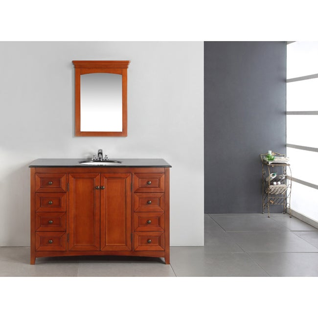 WYNDENHALL Windsor Cinnamon Brown 48-inch Bath Vanity with 2 Doors and Black Granite Top