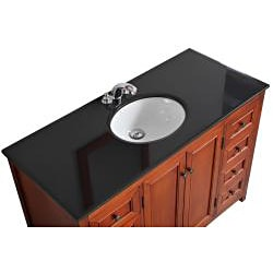 Windsor Cinnamon Brown 48-inch Bath Vanity with 2 Doors and Black Granite Top