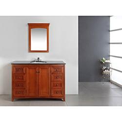 Windsor Cinnamon Brown 48-inch Bath Vanity with 2 Doors and Black Granite Top