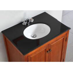 WYNDENHALL Windsor Cinnamon Brown 30-inch Bath Vanity with 2 Doors and Black Granite Top