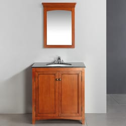 Windsor Cinnamon Brown 30-inch Bath Vanity with 2 Doors and Black Granite Top