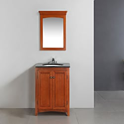 Windsor Cinnamon Brown 24-inch Bath Vanity with 2 Doors and Black Granite Top