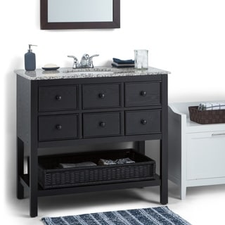New Haven Espresso Brown 36-inch Bath Vanity with 2 Drawers and Dappled Grey Granite Top